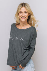 grey long sleeve tee Hug Dealer