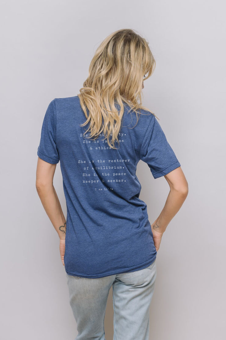 "navy tee with ""She is sincerity. She is fairness & ethical. She is the restorer of equilibrium. She is the peace keeper & seeker"" on it"