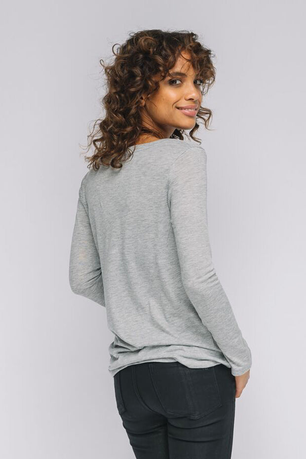 "light grey long sleeve v neck ""Strong Heart"""