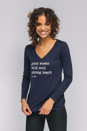 Navy long sleeve v neck quote t-shirt