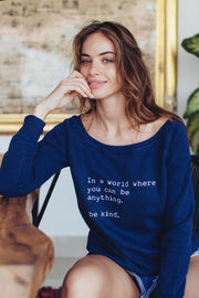 navy cozy pullover with sayings
