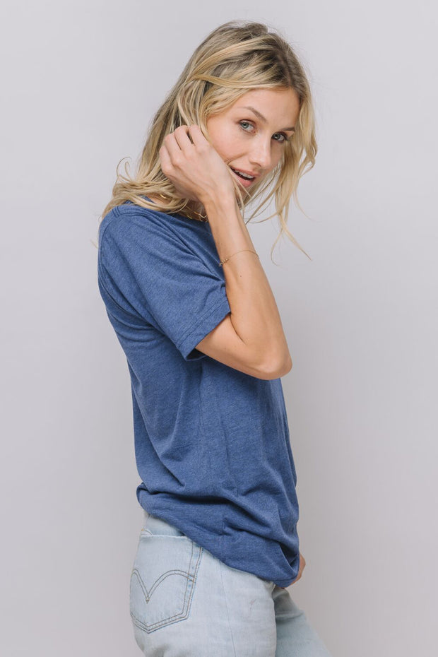 "model in a blue ""I Am Scorpio"" tee"
