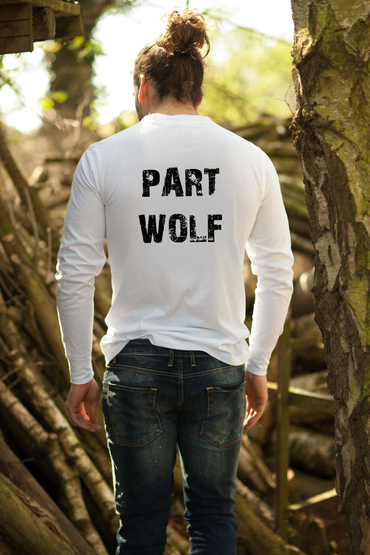 """Part Wolf"" men's white long sleeve tee"