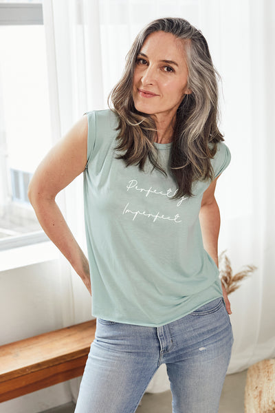"""Perfectly Imperfect"" Soft Sage Roll Tee"