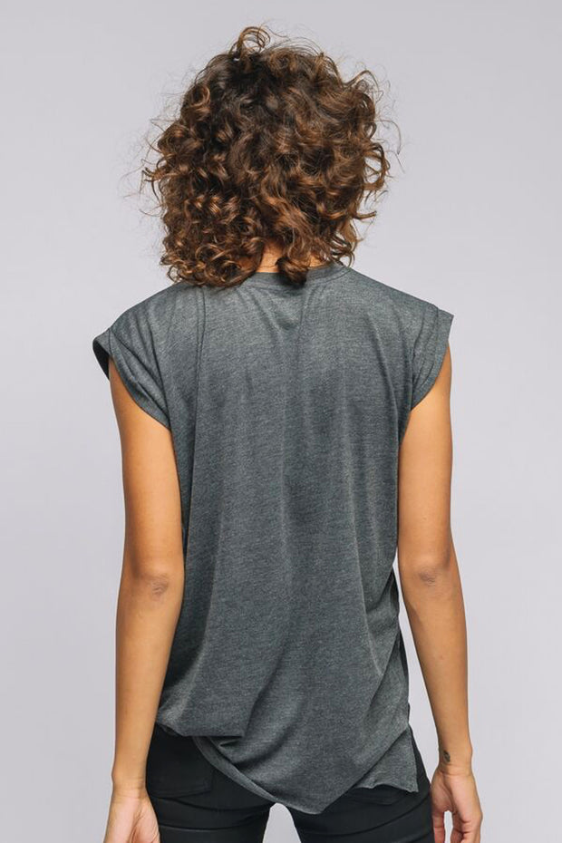 grey roll tee, back view