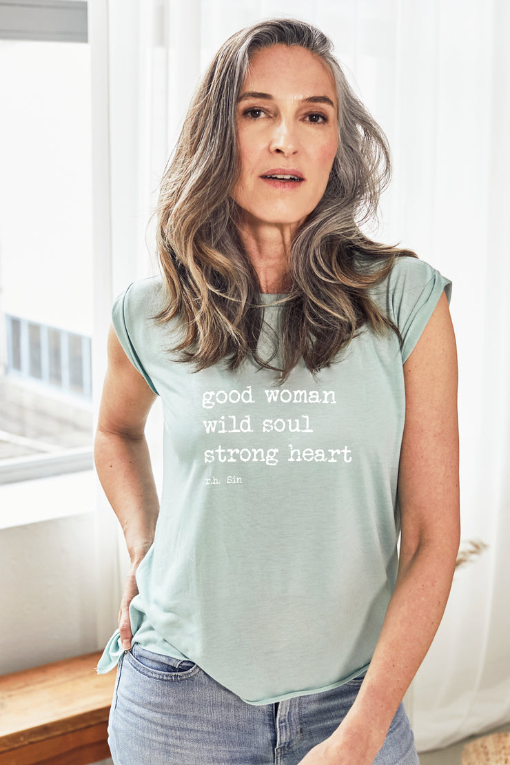 """Strong Heart"" Soft Sage Roll Tee"