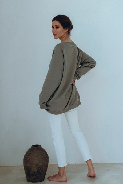 PRE ORDER Luxury Embroidered Pullover in Truffle