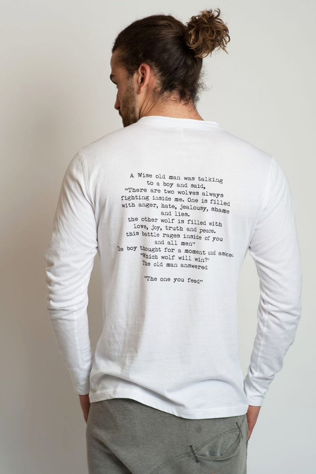 "model in a white men's long sleeve t-shirt ""Wise Old Man"""