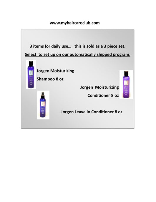 Jorgen 3 piece set Jorgen Moisturizing Shampoo/Jorgen Moisturizing Contioner/Jorgen Leave in Condition