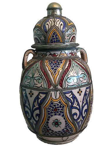 Large Morrocan Safi ceramic vase hand painted