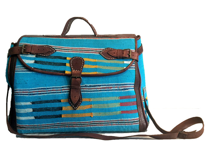 Moroccan Leather and Carpet Overnight Travel Bag