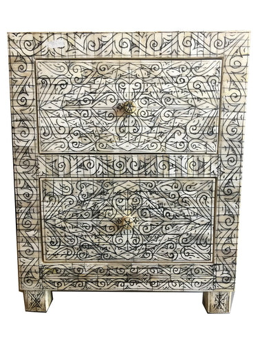 Antique hand etched camel bone night stand