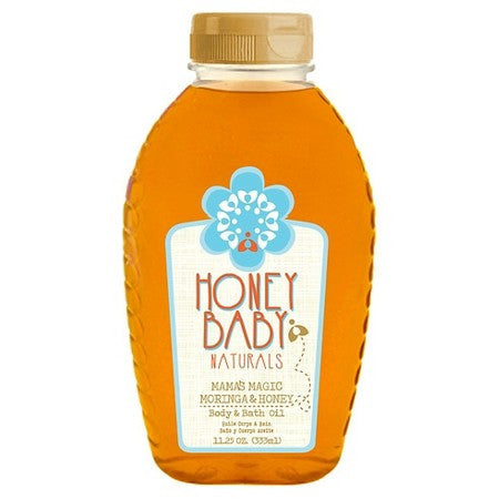 A bottle of Honey baby naturals body & bath oil