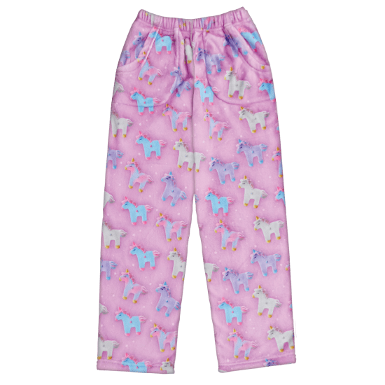 Kids Unicorns & Stars Plush Pajama Pants - the unicorn store