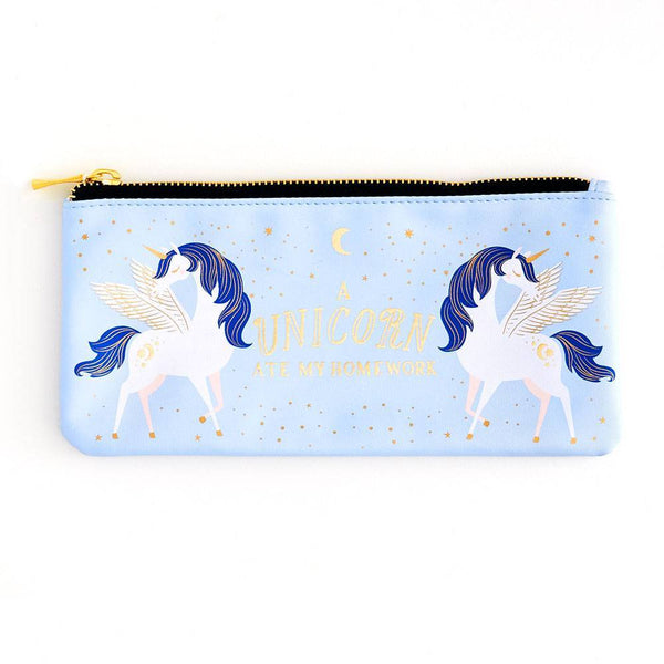 A Unicorn Ate My Homework Blue Pencil Case - the unicorn store
