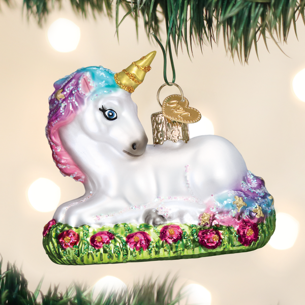Baby Unicorn laying down hand blown glass Ornament by Old World Christmas - the unicorn store