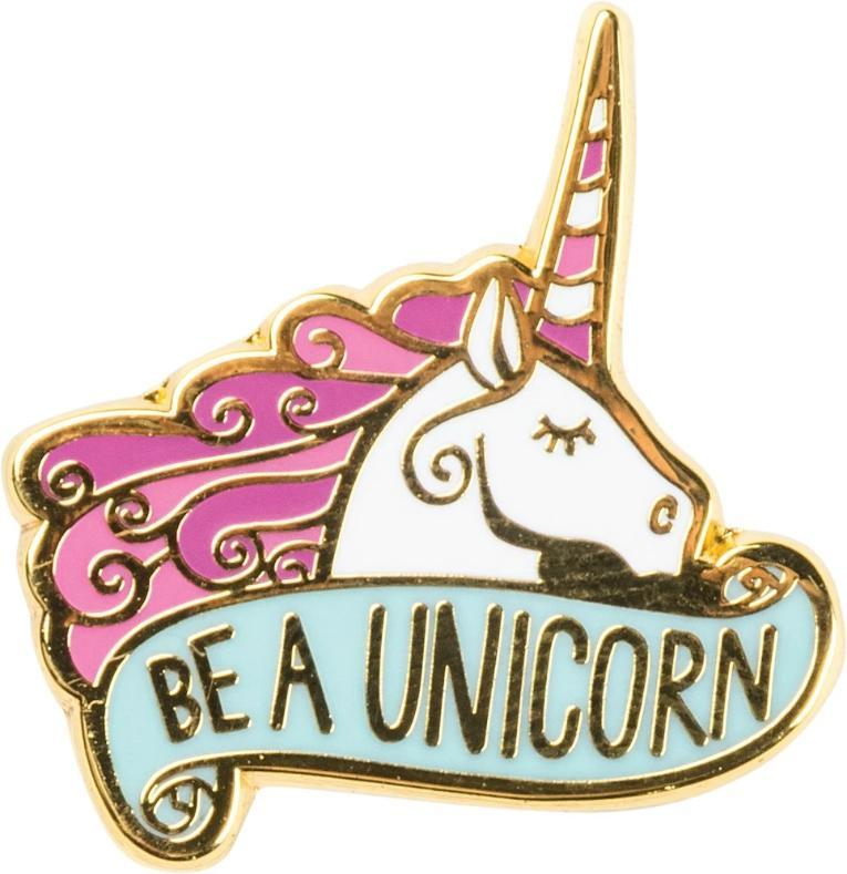 "Be A Unicorn Enamel Pin white unicorn with a pink mane and a mint colored ""be a unicorn"" banner- the unicorn store"