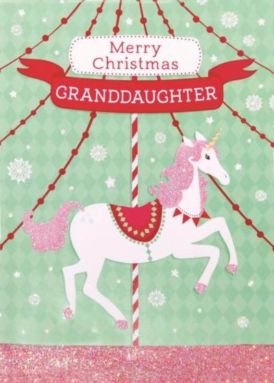 Merry Christmas Granddaughter Card - the unicorn store