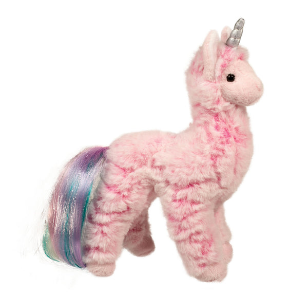 Pink Plush Llama with a unicorn horn and a rainbow tail - the unicorn store