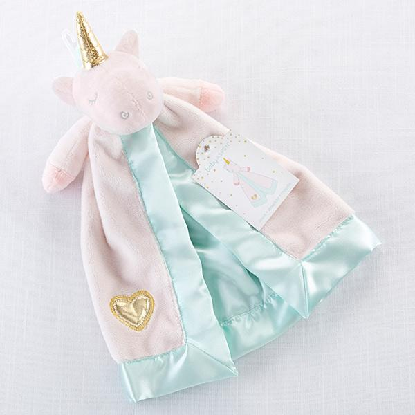 pink and teal satin unicorn lovey