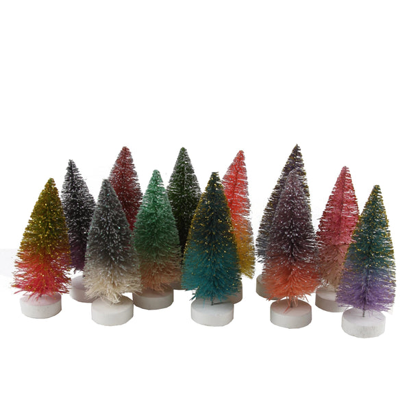 Glitter Ombre Bottle Brush Mini Tree Box Set of 12