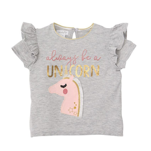 Be a Unicorn Gray Sequin Top