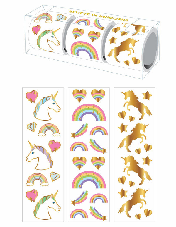 Three rolls of 175 unicorn and rainbow stickers in a clear gift box