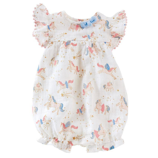 Fairy Unicorn Muslin Bubble Romper