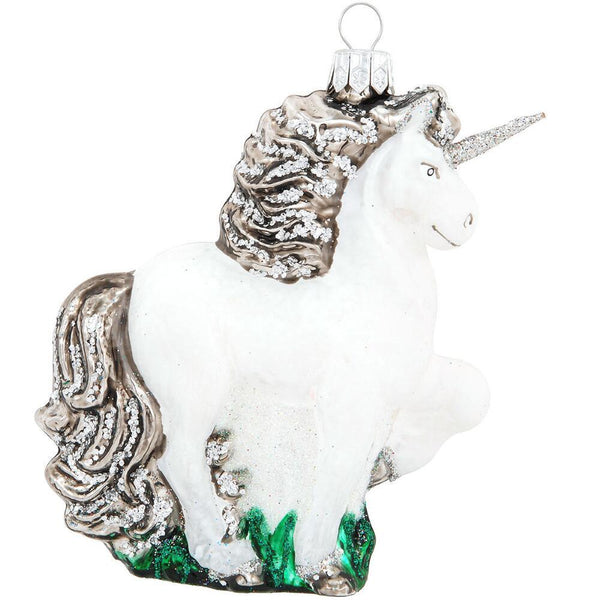 White Unicorn Glass Ornament