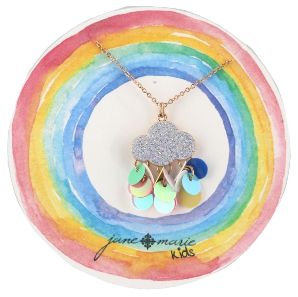 glitter cloud charm necklace