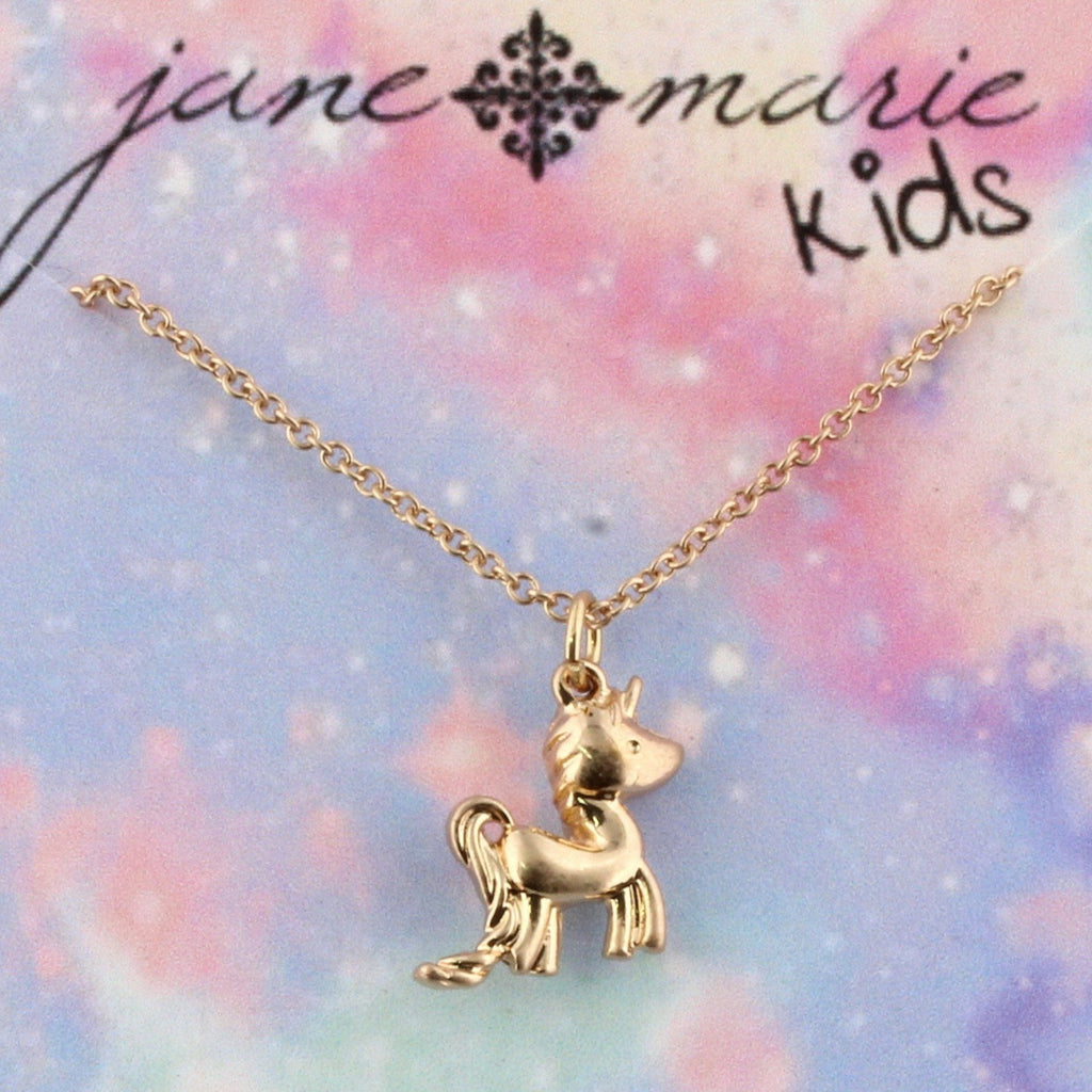 Gold unicorn charm on a gold chain