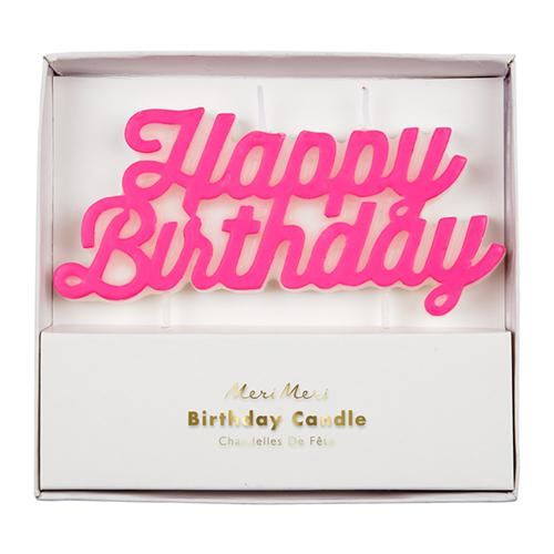 Pink Happy Birthday Candle - the unicorn store