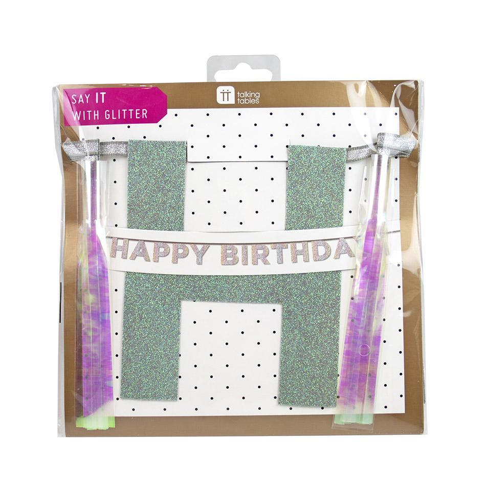 Happy Birthday Iridescent Glitter Banner - the unicorn store