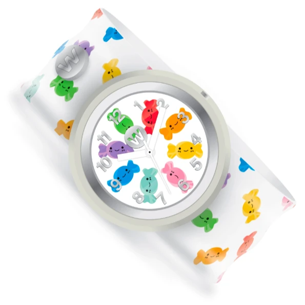 White Slap bracelet watch with multi colored happy face candies