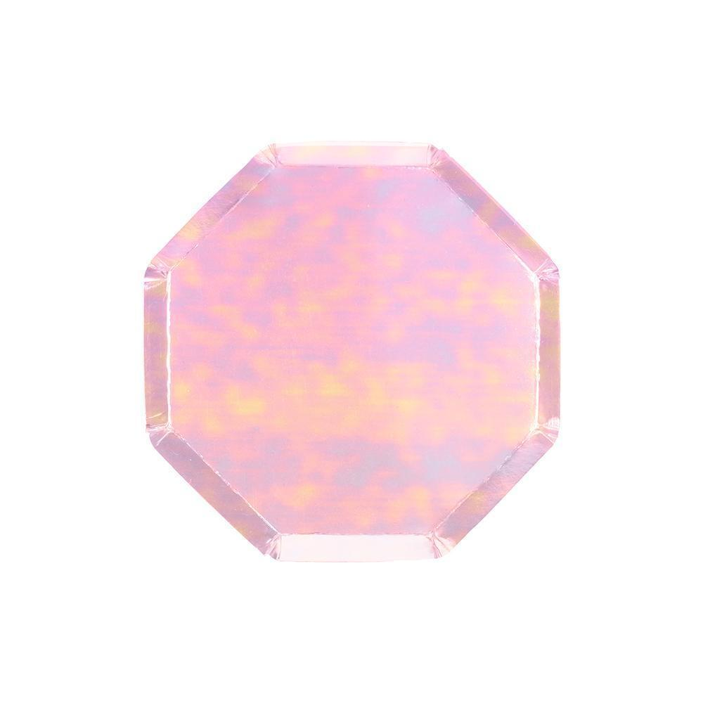 Iridescent Foil Octagonal Cocktail Plates - Set of 8