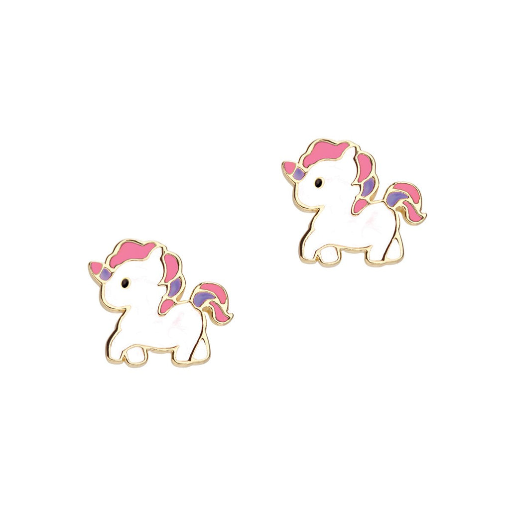 Unicorn Enamel Stud Earrings