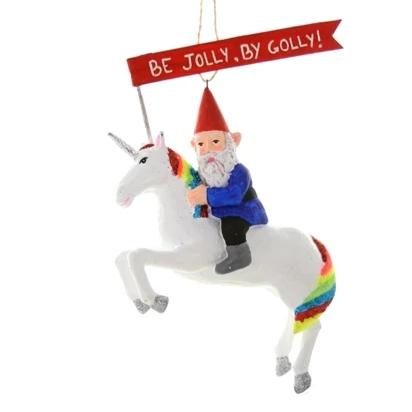 Jolly Elf Unicorn Ornament