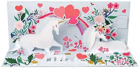 Unicorn Love Light UP 3D Pop-Up Valentine Card