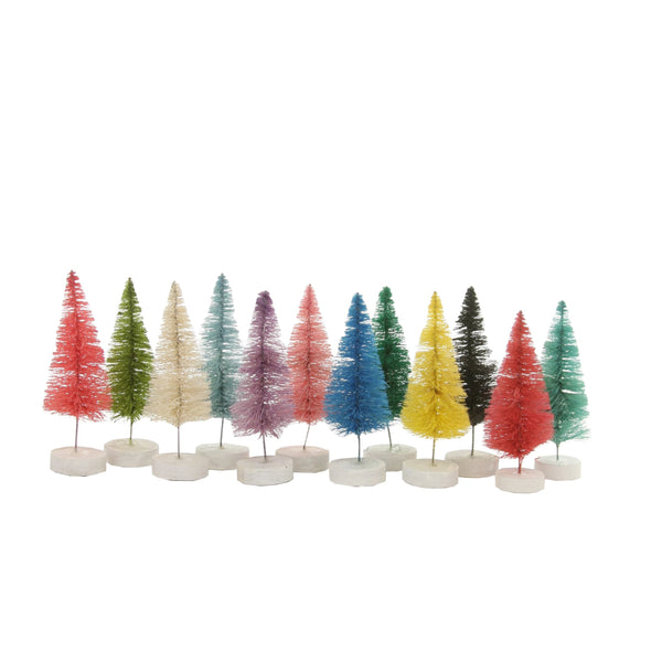 Rainbow Christmas Village Bottle Brush Tree Box Set of 12 - Small