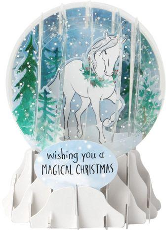Magical Christmas Unicorn Snow Globe Pop Up Card