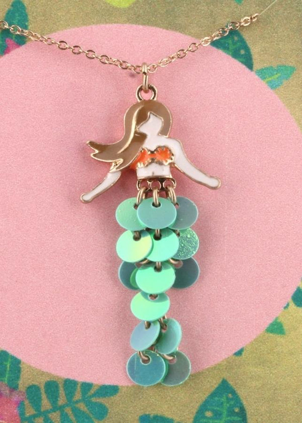 mermaid necklace with wiggly sequin