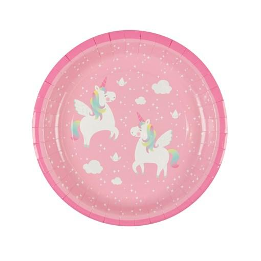 Pink Rainbow Unicorn Paper Plates - Set of 8 - the unicorn store