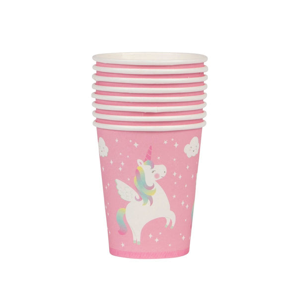 Pink Rainbow Unicorn Party Cups - Set of 8