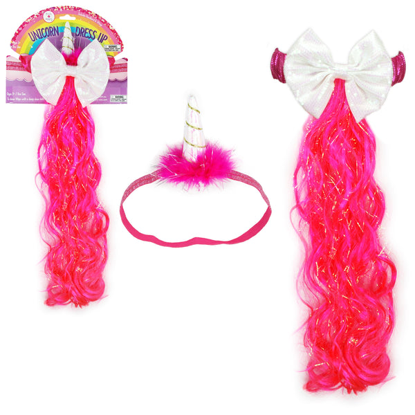 Unicorn Horn Headband and Tail Dress Up Set - Hot Pink