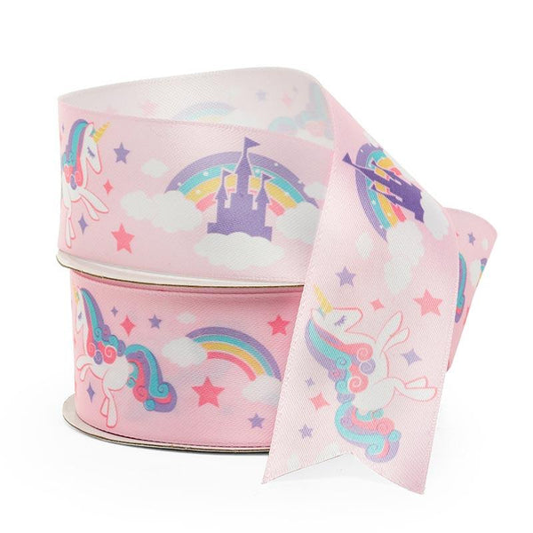 Unicorn Print Pink Satin Ribbon