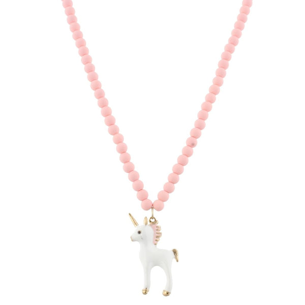 Pink beaded unicorn necklace with 3D Unicorn Charm