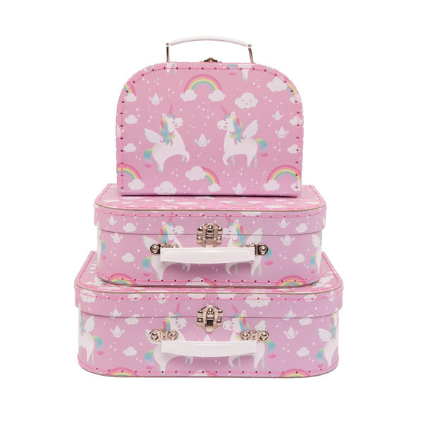 Set of 3 Unicorn Decorative Suitcases