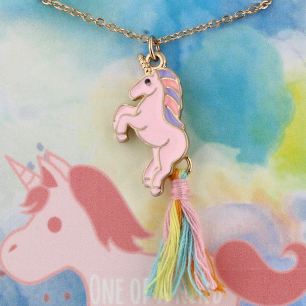 Unicorn Tassel Kids Necklace