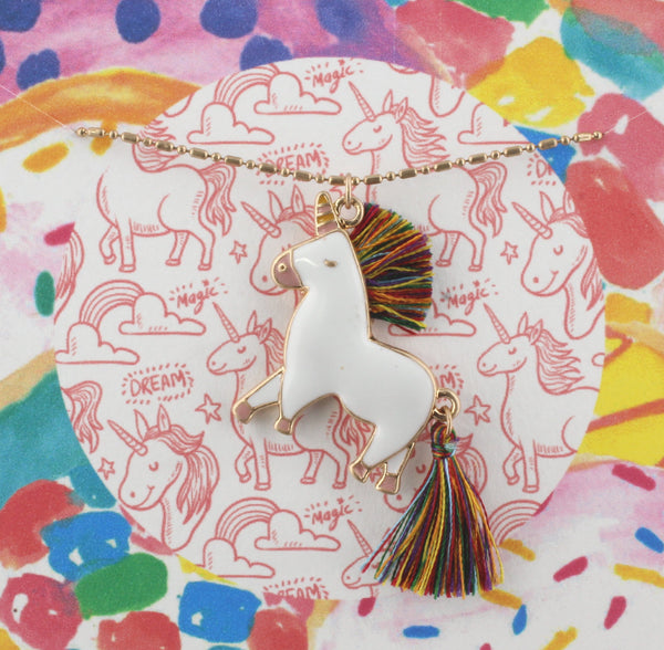 Unicorn with Tassel Mane & Tail Necklace