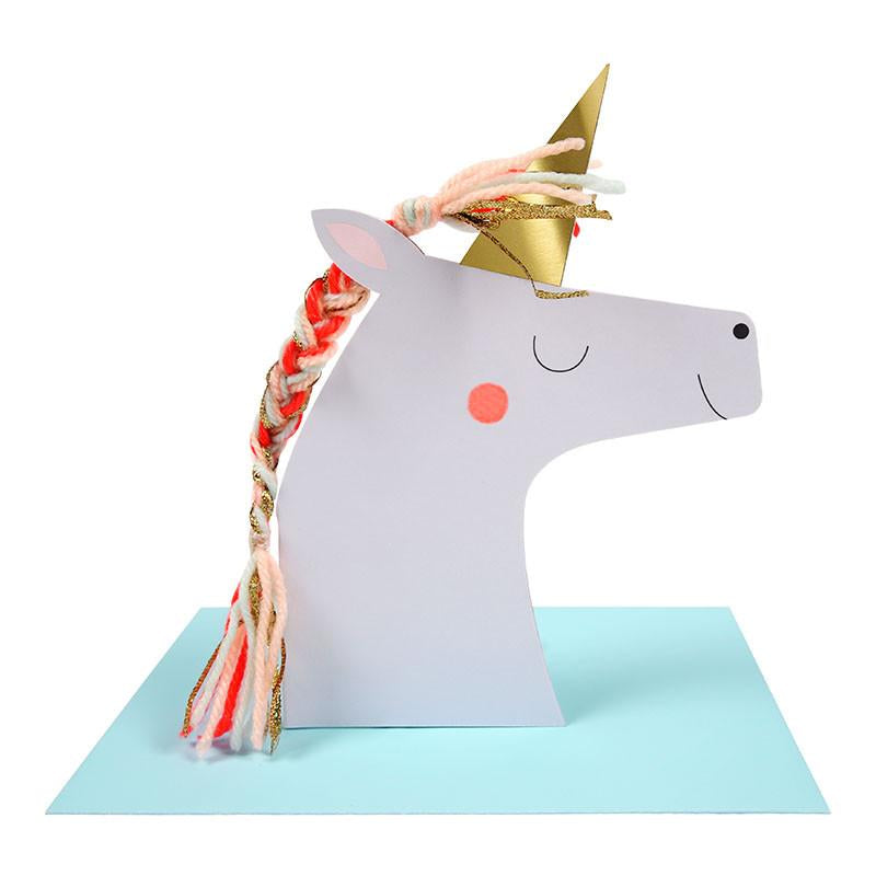 Unicorn with Colored Braid Card - the unicorn store